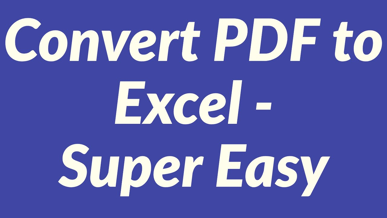 change pdf to excel