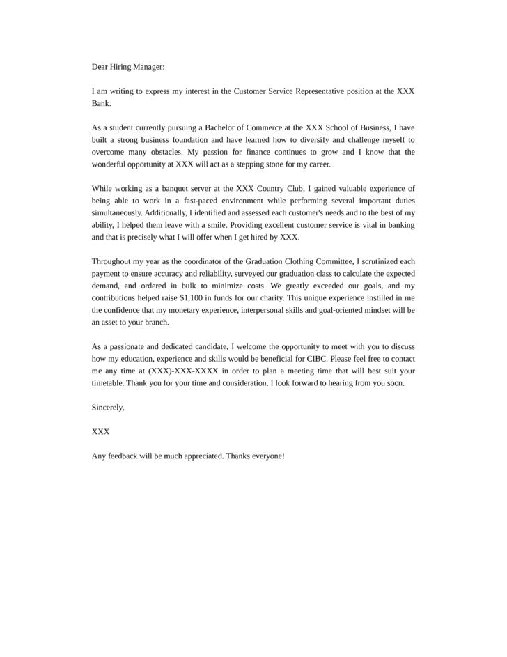 cover letter sample for entry level customer service representative