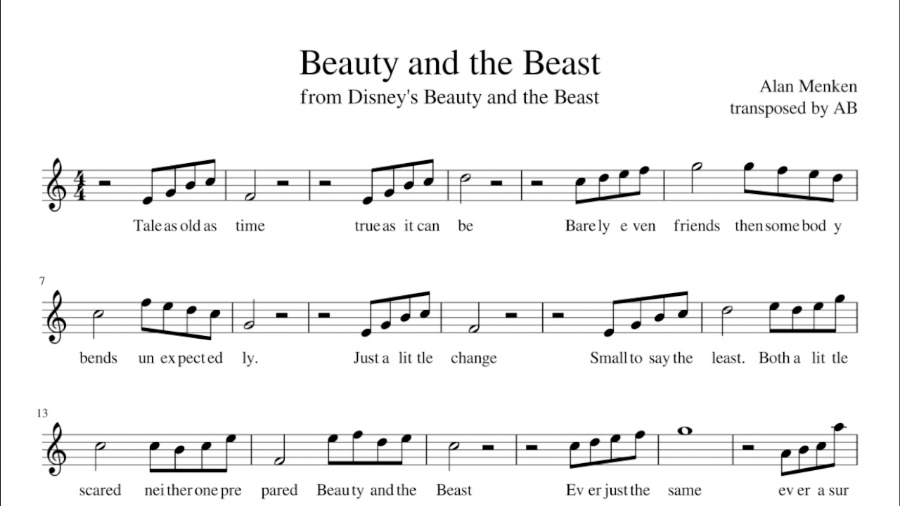 beauty and the beast john legend sheet music pdf