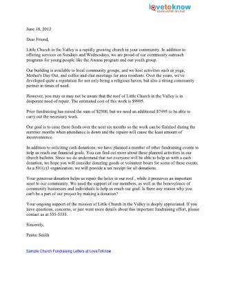church fundraising letter sample