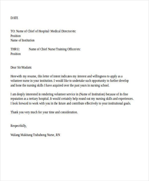 application letter for nursing job