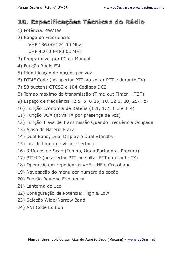 baofeng uv 5r manual em portugues