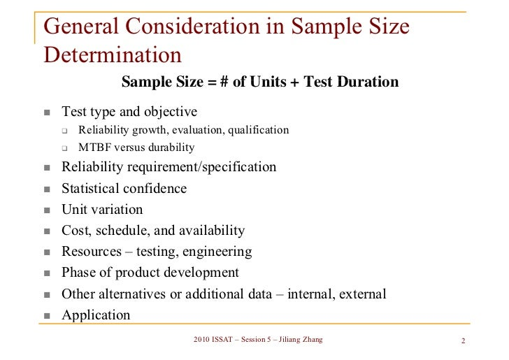 consideration for sample size determination