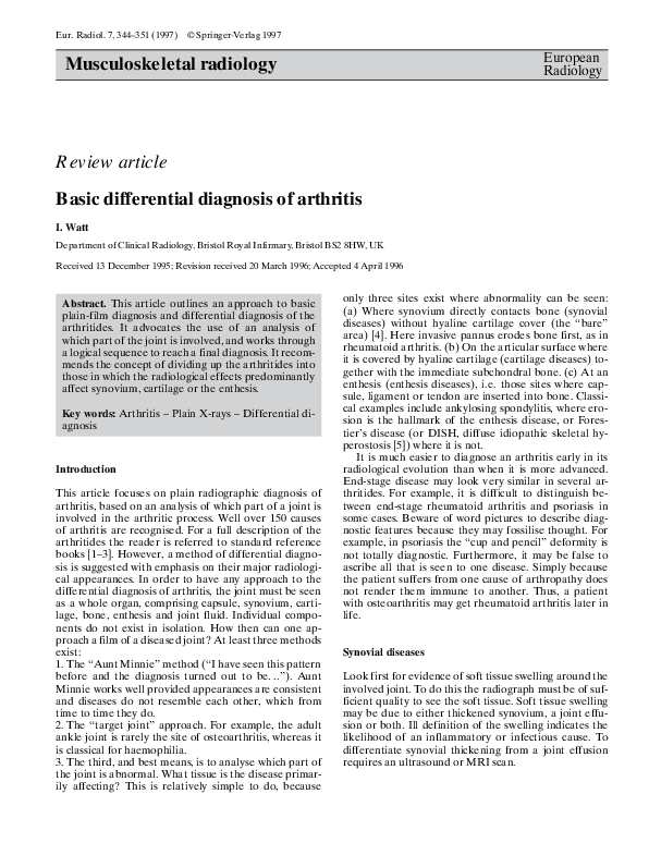 differential diagnosis of arthritis pdf