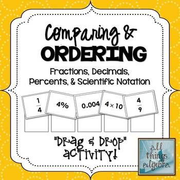 compare and order fractions decimals and percents worksheets pdf