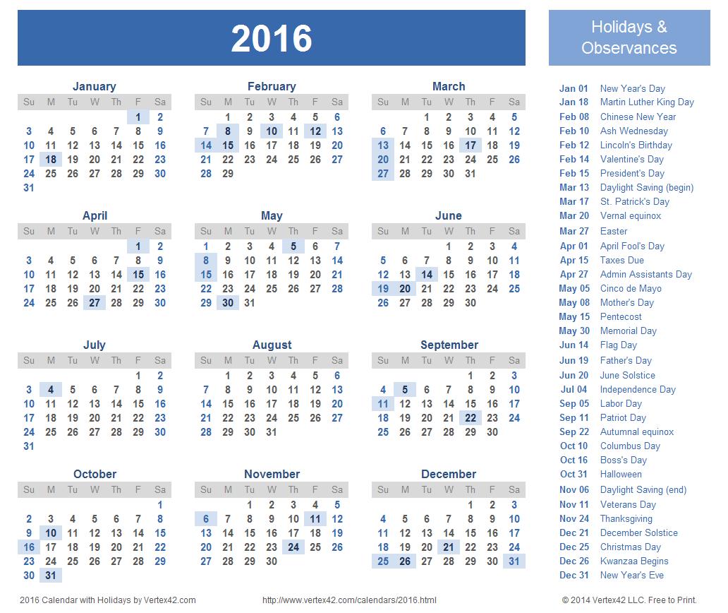2016 calendar pdf download
