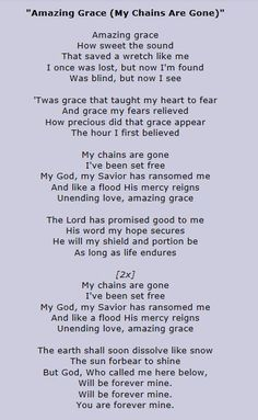 amazing grace my chains are gone pdf