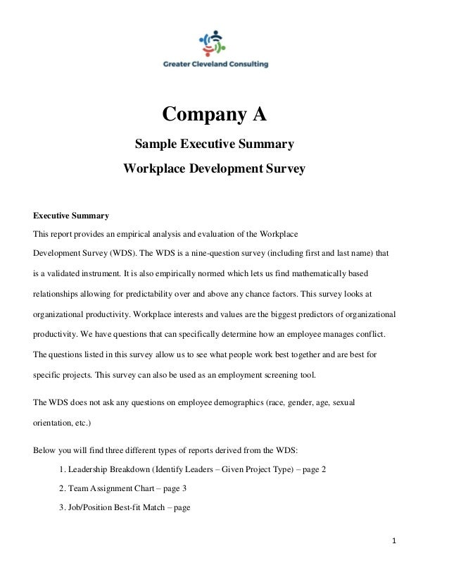 assignment executive summary sample