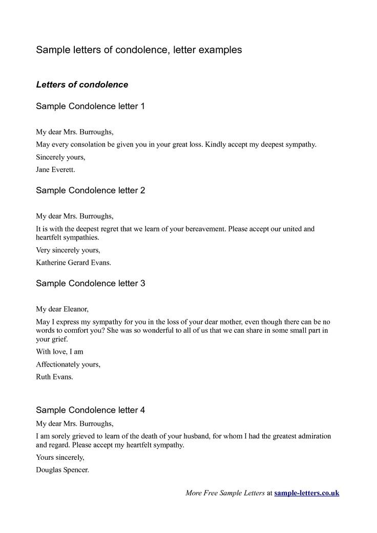 bereavement letter sample