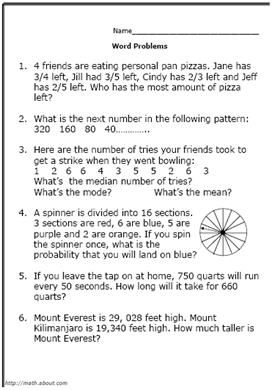 5th grade math word problems worksheets pdf