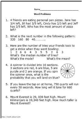 5th grade math word problems worksheets pdf