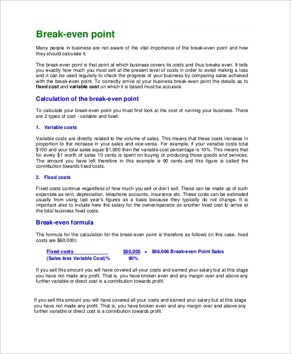 break even point explained in pdf