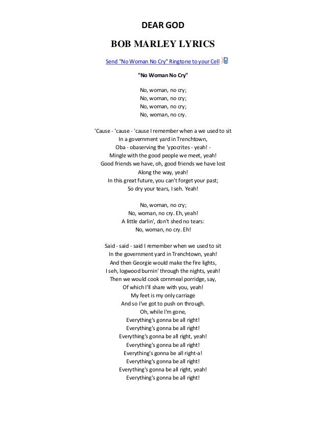 bob marley no woman no cry lyrics pdf