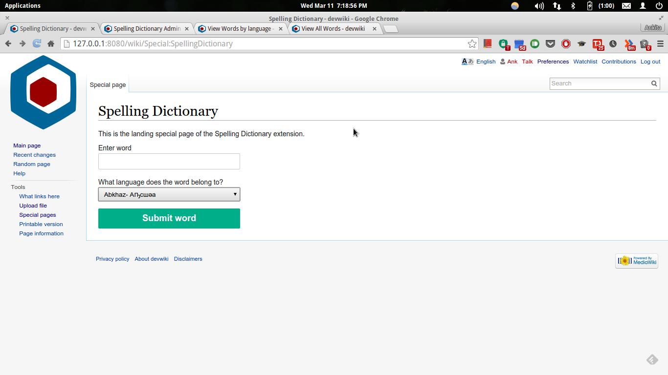definitely spelling dictionary