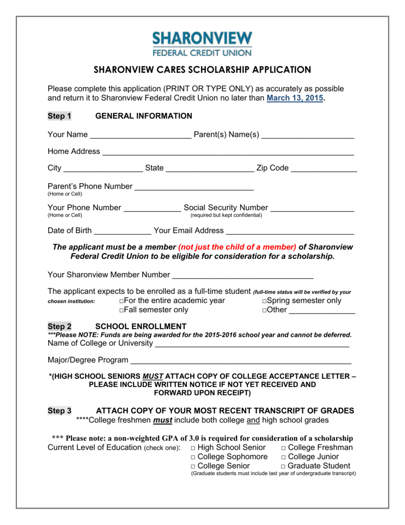 application for credit union scholarship