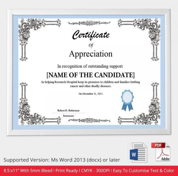 certificate of appreciation sample doc