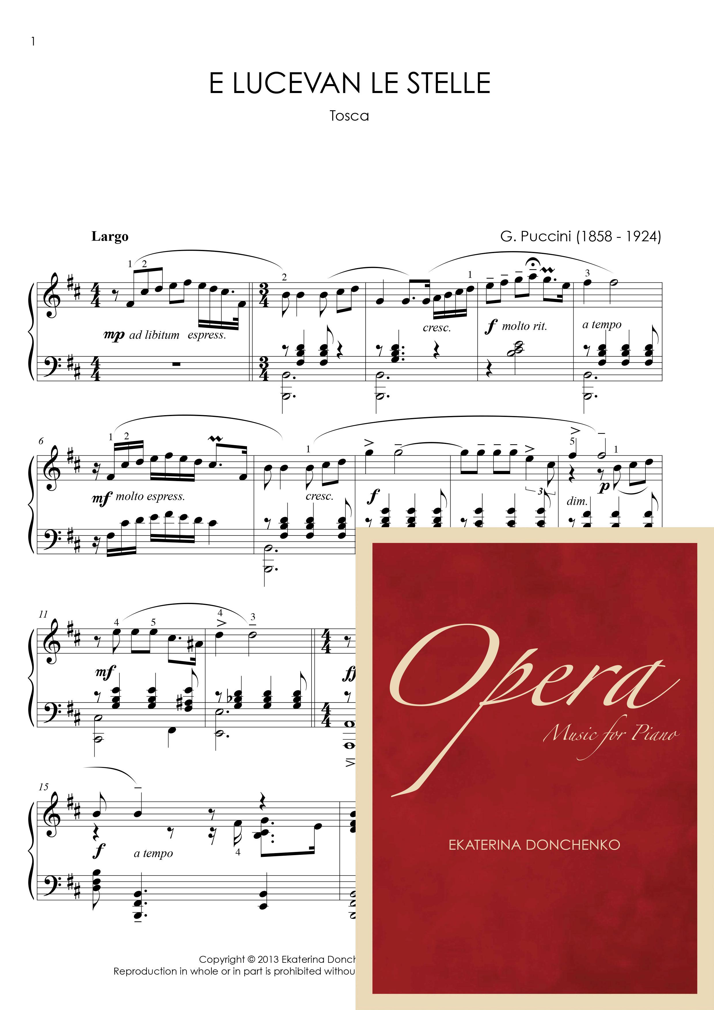 e lucevan le stelle sheet music pdf