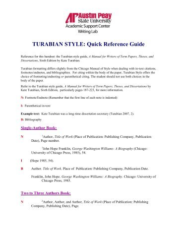 chicago turabian quick guide