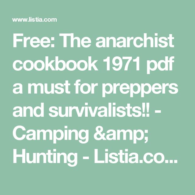anarchist cookbook v pdf download