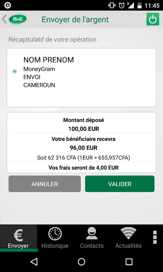 application transfert argent