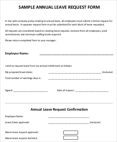 annual leave form sample