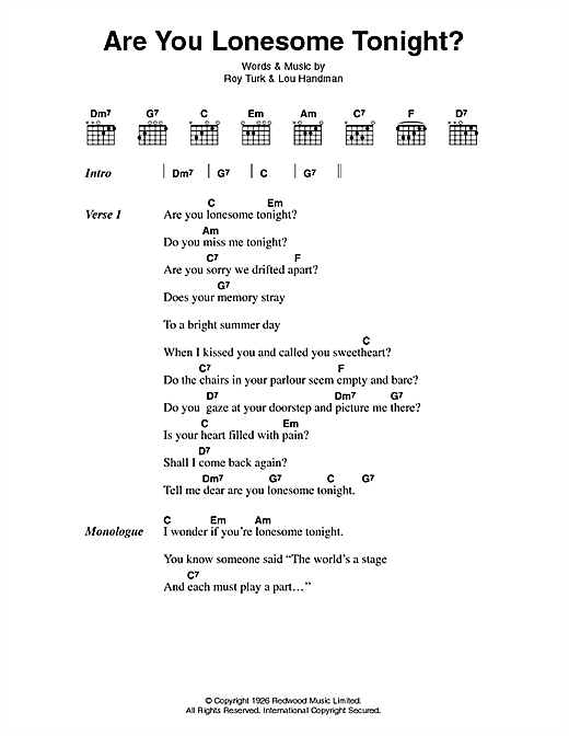 are you lonesome tonight chords pdf