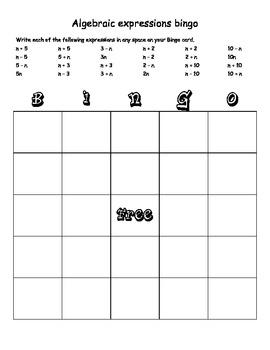 5th grade math bingo pdf