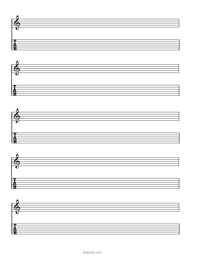 blank guitar tab sheet music pdf