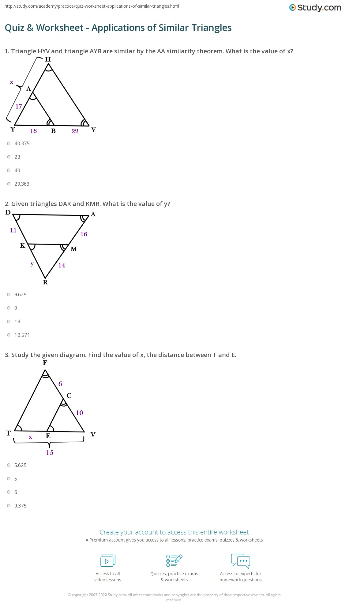 application of triangle test