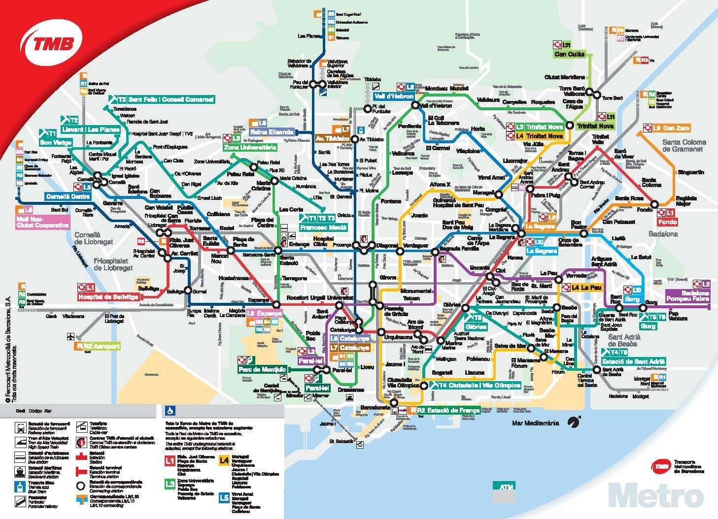 barcelona metro map with tourist attractions pdf