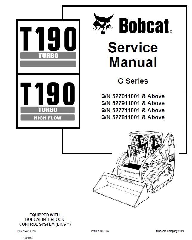 bobcat t190 parts manual
