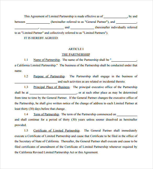 business partnership agreement sample pdf
