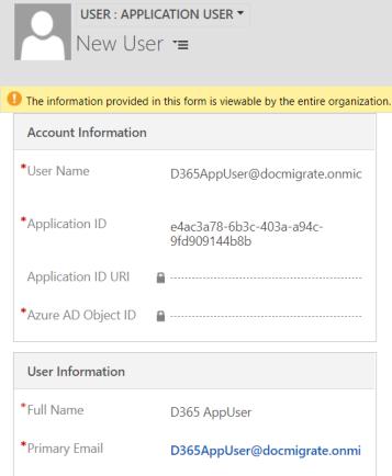 dynamics 365 application user