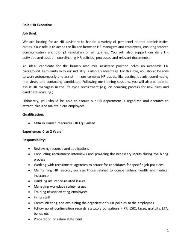 admin executive job description pdf