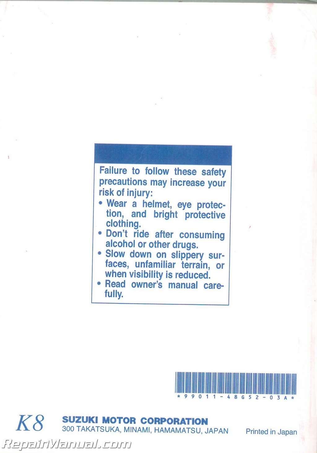 2006 suzuki lt-f160 owners manual