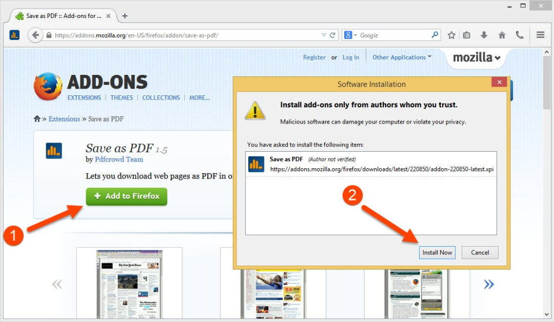 add web link to pdf on every page