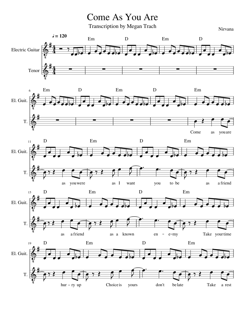 come as you are sheet music pdf
