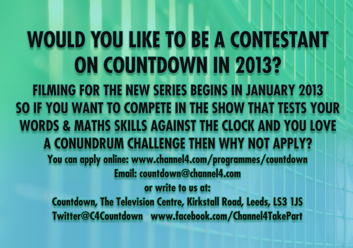 countdown contestant application form