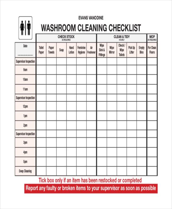 bathroom cleaning checklist pdf