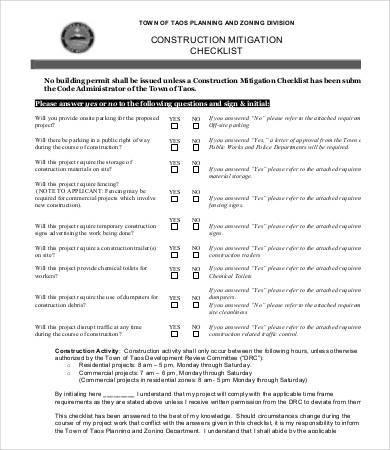 construction checklist sample