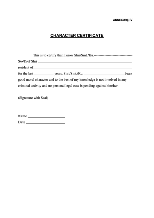 certificate of character late application