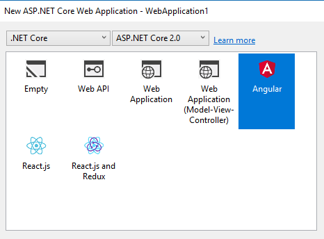 asp net web application option not available visual studio 2017