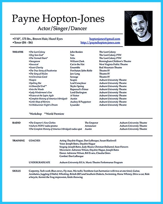 child actor biography sample