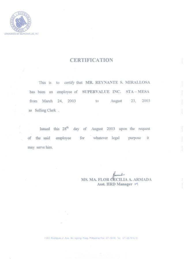 certificate of employment sample philippines