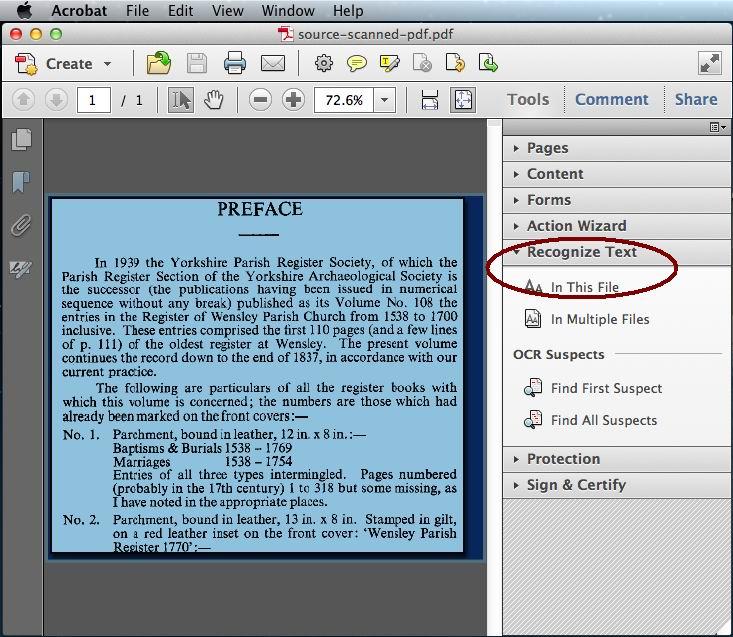 acrobat pdf ocr output style