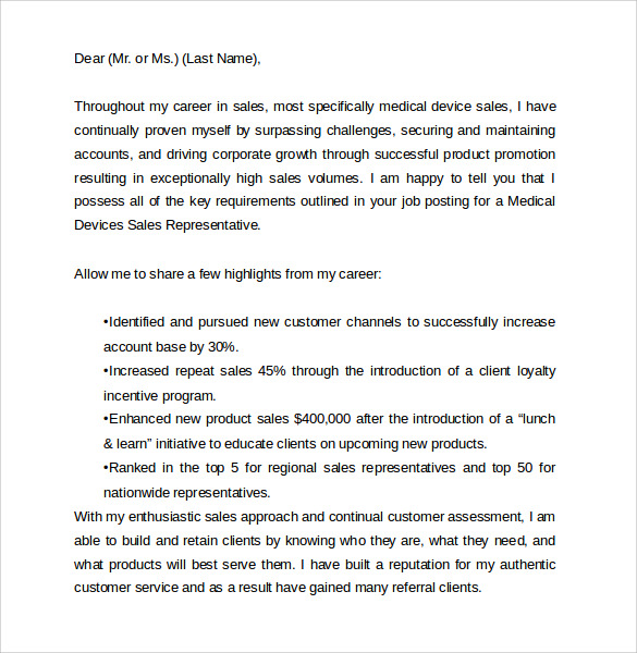 cover letter sample sales representative inbound