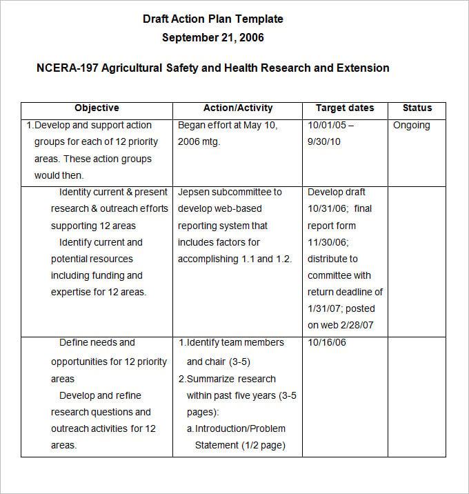 action plan example pdf