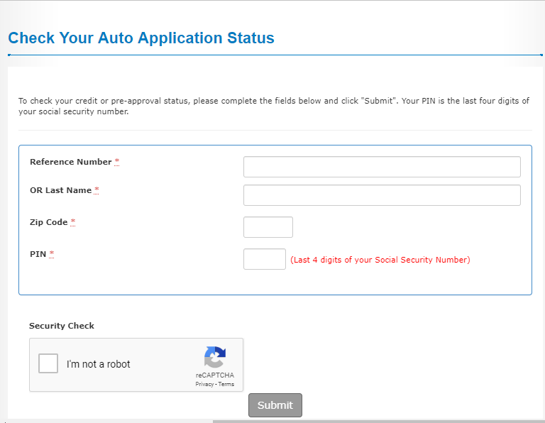 anz car loan application status