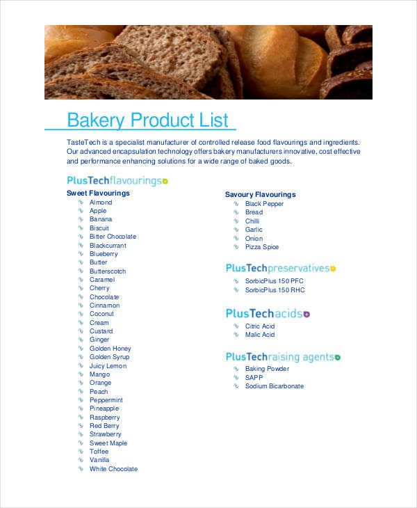 bakery products pdf