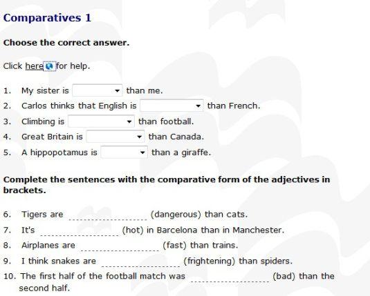 adjetivos comparativos y superlativos en ingles ejercicios pdf